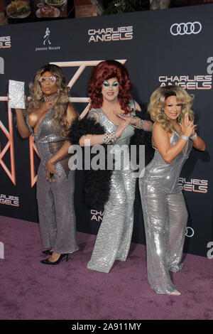 """Los Angeles, California, USA. 11th November, 2019. Peppermint, Nina West, Farah Moan 11/11/2019 """"Charlie's Angels"""" Premiere held at the Regency Village Theatre in Westwood, CA Photo by Kazuki Hirata/HollywoodNewsWire.co Credit: Hollywood News Wire Inc./Alamy Live News - Stock Photo"""