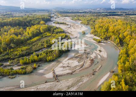 France, Drome, Eurre, National natural reserve of the Ramieres du Val de Drome in autumn (aerial view) // France, Drôme (26), Eurre, Réserve naturelle - Stock Photo