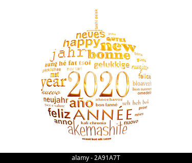 2020 new year white and gold multilingual text word cloud greeting card in the shape of a christmas ball - Stock Photo