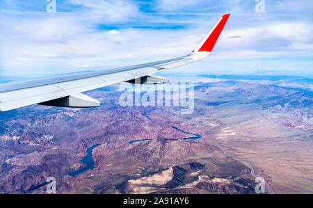 Flying above the Colorado River in Arizona, USA - Stock Photo