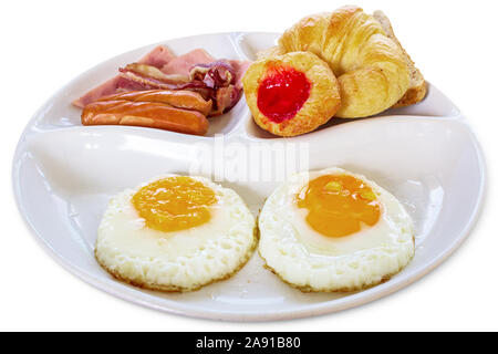 Breakfast set with egg, bacon, sausage and bread isolated on white background, clipping path included - Stock Photo