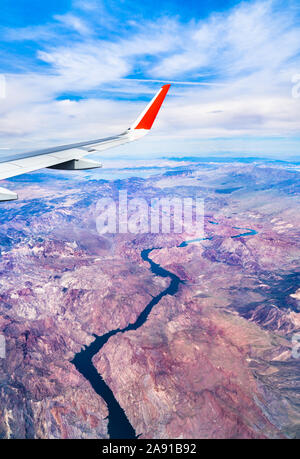 Flying above the Colorado River in Arizona, USA - Stock Photo