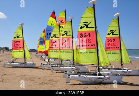Catamarans on Tharon beach, Loire Atlantique, - Stock Photo