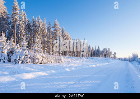 Country road in winter landscape, trees covered with snow, Finland - Stock Photo