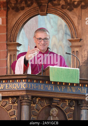 Rostock, Germany. 12th Nov, 2019. Stefan Heße, Archbishop of Hamburg, speaks to those present during the service in the University Church. The 600th founding day of the University of Rostock is ushered in with an ecumenical service in the University Church. Credit: Danny Gohlke/dpa/Alamy Live News - Stock Photo