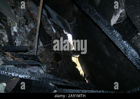 property fire, danger zone, Australian bushfire - Stock Photo