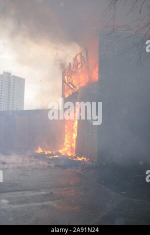 Building, fire flammable external cladding, Combustible cladding - Stock Photo