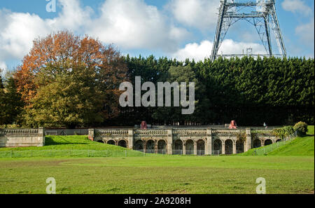 Crystal Palace Park in South East London. View of ruins and a sphinx statue - Stock Photo