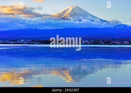 View of the Mount Fuji from Lake Kawaguchi at sunrise in Japan. Stock Photo