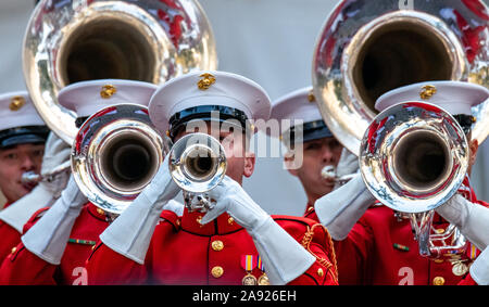 New York, USA,  11 November 2019.  Musicians of the US Marine Corps band perform at the Veterans Day Parade in New York City.  Photo by Enrique Shore. - Stock Photo