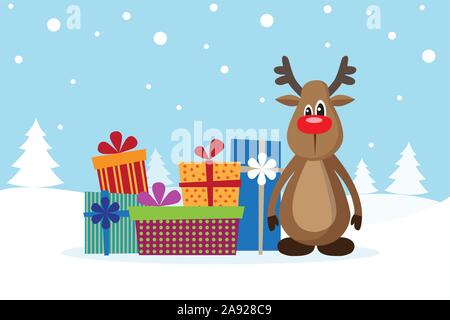 Christmas card with deer and gifts on the snow. Vector illustration. - Stock Photo