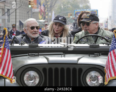 November 11, 2019, New York, NY, USA: Fifth Avenue, New York, USA, November 11, 2019 - Buzz Aldrin Astronaut of Apollo 11 along with thousands of Veterans, Police, Firefighter and Spectators Celebrated Veterans Day 2019 today on Fifth Avenue  in New York City..Photo: Luiz Rampelotto/EuropaNewswire..PHOTO CREDIT MANDATORY. (Credit Image: © Luiz Rampelotto/ZUMA Wire) - Stock Photo