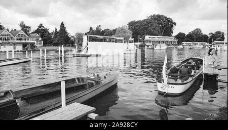 Henley, GREAT BRITAIN, 1982, Henley Royal Regatta, Henley on Thames England, [Mandatory Credit Peter Spurrier/Intersport Images] Umpires Launches Moored by the Stewards Enclosure and Bridge Bar, - Stock Photo
