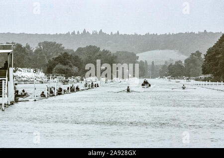 Henley, GREAT BRITAIN, 1982, Henley Royal Regatta, Henley on Thames England,  General View down the course, towards temple Island, wit raace in progress,[Mandatory Credit Peter Spurrier/Intersport Images] - Stock Photo