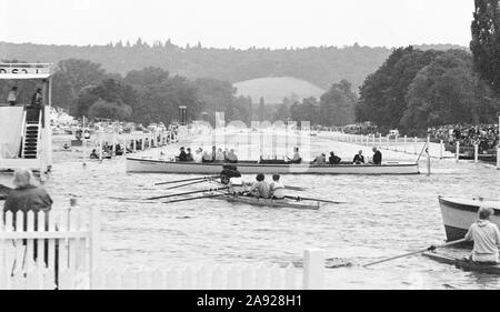 Henley, GREAT BRITAIN, Congestion on the Henley Regatta course, with a race in progress, 1982, Henley Royal Regatta, Henley on Thames England, [Mandatory Credit Peter Spurrier/Intersport Images] - Stock Photo