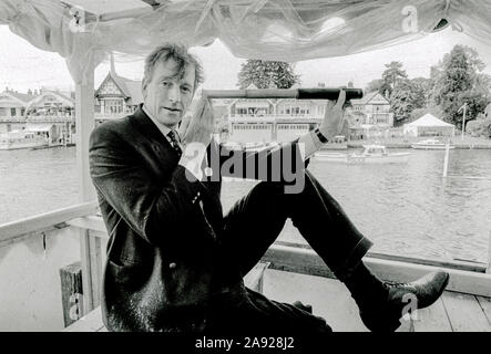 Henley, GREAT BRITAIN, Hugh MATHERSON, Journalist, Indepent,  Farmer, Ex International Oarsman and Oxford Blue,    in the Press box at the 1982, Henley Royal Regatta, Henley on Thames England, [Mandatory Credit Peter Spurrier/Intersport Images] - Stock Photo