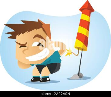 Little boy lighting fireworks illustration - Stock Photo