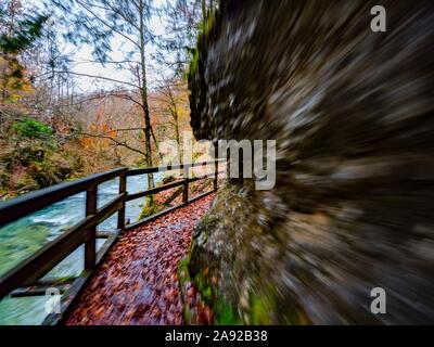 Kamacnik canyon near Vrbovsko in Croatia Europe intentionally blurry representing maximum utmost speed speedy fast movement - Stock Photo