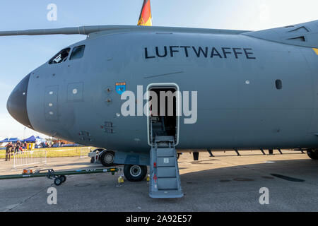 OSTRAVA, CZECH REPUBLIC - SEPTEMBER 22, 2019: NATO Days. Airbus A400M Atlas military transport aircraft of the German Air Force on display. - Stock Photo