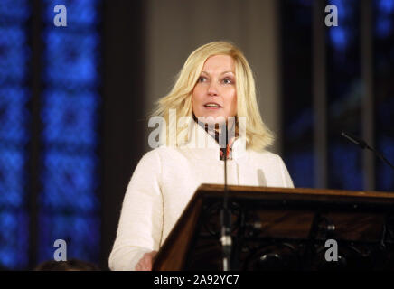 Rostock, Germany. 12th Nov, 2019. Manuela Schwesig (SPD), Prime Minister of Mecklenburg-Vorpommern, speaks to the guests at the Academic Ceremony in the Marienkirche. The Academic Ceremony is part of the celebrations for the 600th foundation day of the University of Rostock. Credit: Danny Gohlke/dpa/Alamy Live News - Stock Photo