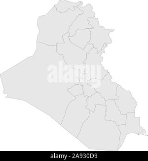 Iraq political map with boundaries vector illustration. Gray color. - Stock Photo