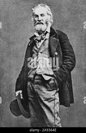 Vintage portrait photo of American poet, essayist and journalist Walt Whitman (1819 – 1892). Photo circa 1849. - Stock Photo