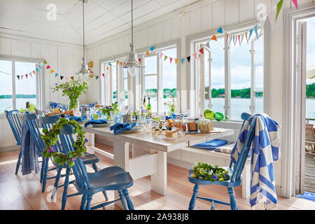 Dining room set for party - Stock Photo
