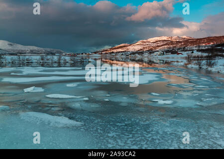 Dåfjord in Northern Norway in winter - Stock Photo
