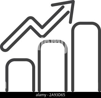 statistics chart finance bank money icon thick line vector illustration - Stock Photo