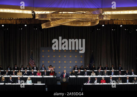 New York, USA. 12th Nov, 2019. President Donald Trump speaks at the Economic Club of New York Luncheon on Tuesday, November 12, 2019 at the New York Midtown Hilton in New York City. Photo by Jason Szenes/UPI Credit: UPI/Alamy Live News - Stock Photo