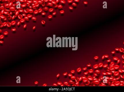 Blood cells or erythrocites flowing in abstract scientific background with medical or health theme - Stock Photo