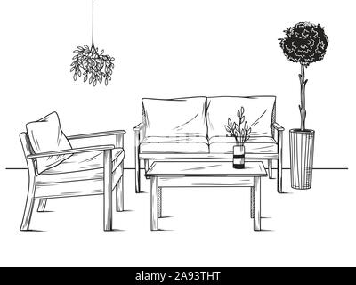 Set of furniture for the garden. Armchairs, sofa and table among the plants. Vector illustrations in sketch style - Stock Photo
