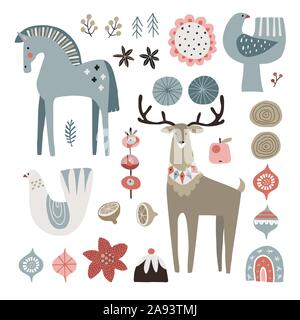 Set of Christmas Scandinavian animals and natural elements. Dala horse, dove birds, Christmas ornametns, flowers, fruit and reindeer. Nordic retro - Stock Photo