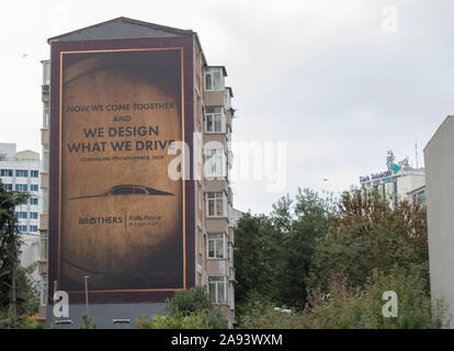 Istanbul, Turkey - November-11.2019: The Rolls Royce car brand is on the advertising sign. - Stock Photo