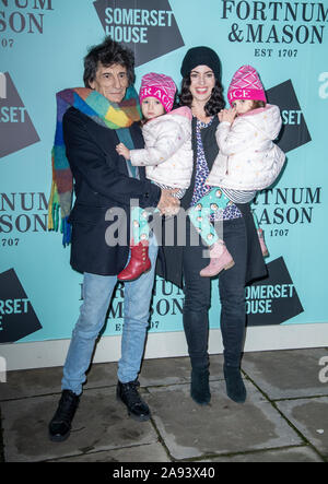 London, UK. 12th Nov, 2019. Ronnie Wood, Sally Wood with twins Gracie Jane & Alice Rose attend the opening party of Skate at Somerset House on November 12, 2019 in London, England Credit: Gary Mitchell, GMP Media/Alamy Live News - Stock Photo