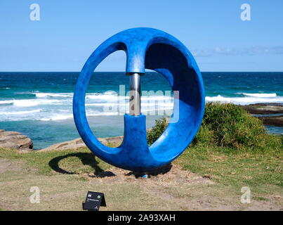 BONDI BEACH, NSW, AUSTRALIA - OCTOBER 28, 2019: 23rd annual Sculpture by the Sea exhibition held on the spectacular Bondi beach to Tamarama beach coas - Stock Photo