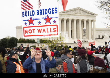 Washington, DC, USA. 12th Nov, 2019. Rally in support of DACA (Deferred Action for Childhood Arrivals) in front of the U.S. Supreme Court building. Credit: Michael Brochstein/ZUMA Wire/Alamy Live News - Stock Photo