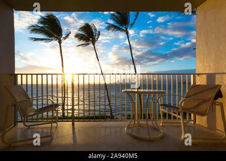 Seating on a balcony with a tropical view, Kamaole One and Two beaches, Kamaole Beach Park; Kihei, Maui, Hawaii, United States of America