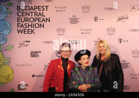 BUDAPEST CENTRAL EUROPEAN FASHION WEEK - NOV 10, 2019 - BUDAPEST, HUNGARY - BALNA - Magda Vamos, Edit Nagy, Ilona Barna - public - - Stock Photo