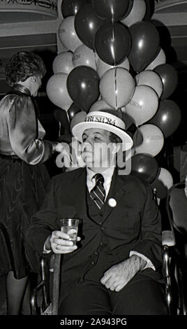 Washington DC, USA, January 29, 1984 White House Press Secretary James Brady celebrates the announcement of President Ronald ReaganÕs decision to run for re-election at a party by Republican supporters in the ballroom at the Mayflower Hotel - Stock Photo
