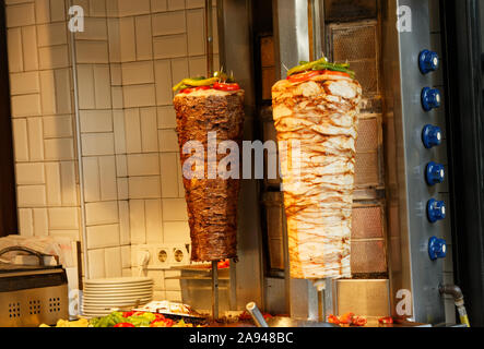 Turkish Donner Kebab from beef and chicken meat. Also known as Greek Gyro.