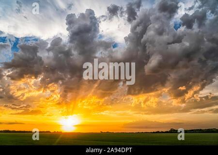 Bright golden sunset over the flat prairie land; Val Marie, Saskatchewan, Canada - Stock Photo
