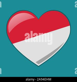 heart with indonesian or monaco  flag vector symbol illustration - Stock Photo