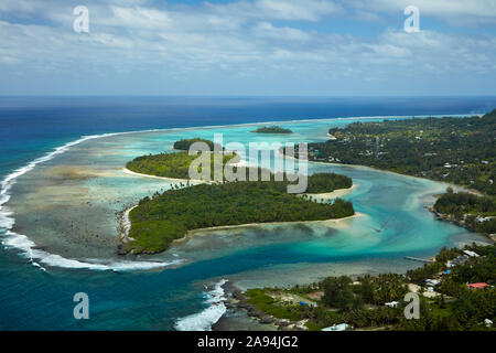 Avana Harbour, Muri Lagoon (said to be where Maori left for their historic voyage to New Zealand), Rarotonga, Cook Islands, South Pacific - aerial - Stock Photo