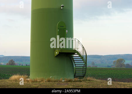 closed service door in windturbine made by Enercon GmbH the fourth-largest wind turbine manufacturer in the world - Stock Photo