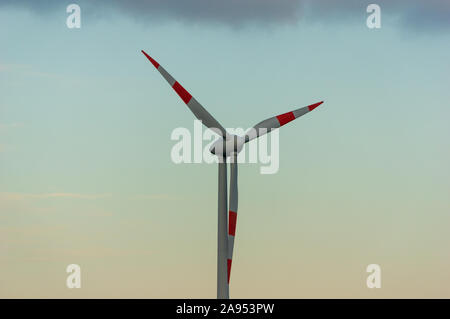 Windturbine made by Enercon GmbH the fourth-largest wind turbine manufacturer in the world and  market leader in Germany - Stock Photo