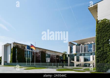 Berlin, Germany - July 28, 2019: The Bundeskanzleramt, German Federal Chancellery, main seat and office of German Chancellor Angela Merkel - Stock Photo