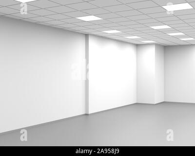 Abstract empty office, an open space interior background, 3d rendering illustration - Stock Photo