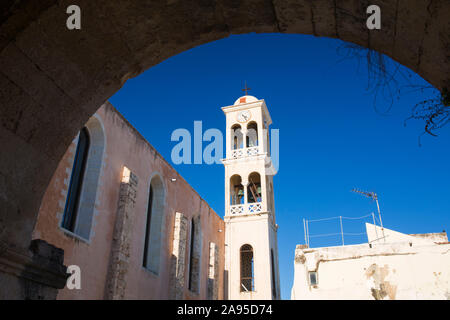 Chania, Crete, Greece. Bell tower of the Greek Orthodox Church of Agios Nikolaos, formerly a mosque. - Stock Photo