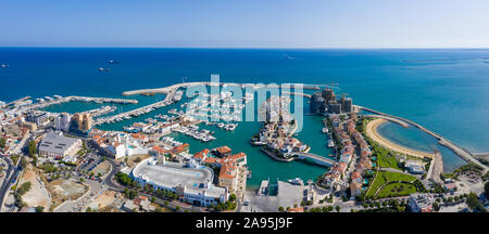Panoramic view of the new marina in Limassol, Cyprus, view from above - Stock Photo
